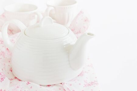 for tea: kettle for tea and tea cups. utensils for tea Stock Photo