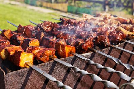 the shish kebab: shish kebab on metal skewers outdoor picnic. selective focus. close-up Stock Photo