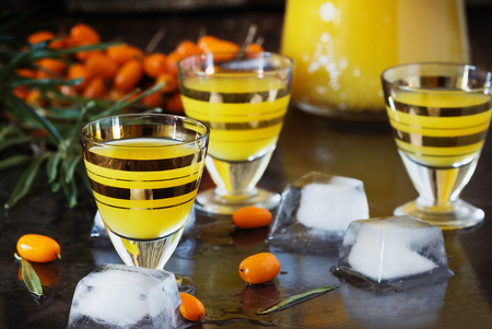 bebidas alcoh�licas: Traditional alcoholic cocktail of sea buckthorn berries on a granite background. Alcoholic beverages from different countries. Pernicious drinks. Selective focus Foto de archivo