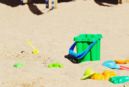 sandbox: Childrens toys in the sandbox on the playground. Selective focus