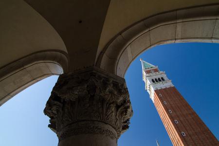 marco: San Marco Campanile seen from San Marco Basilica, Venice-Italy.