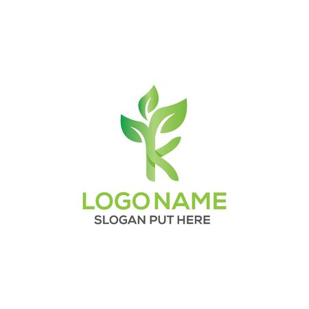 K Letter eco logo design template