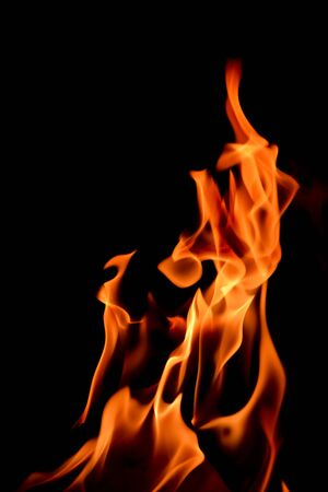 Close-up shot of the fire on black background