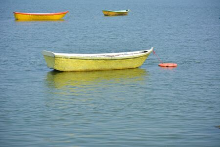 Boats in the upper lake at Bhopal which is also known as 'city of lakes'.