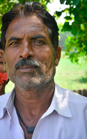 MADHYA PRADESH, INDIA - NOVEMBER 01, 2019: Portrait of indian man in traditional costume at tikamgarh, Madhya pradesh, India.
