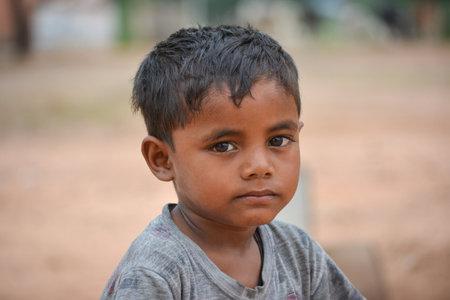 TIKAMGARH, MADHYA PRADESH, INDIA - SEPTEMBER 14, 2020: Portrait of unidentified Indian boy. Éditoriale