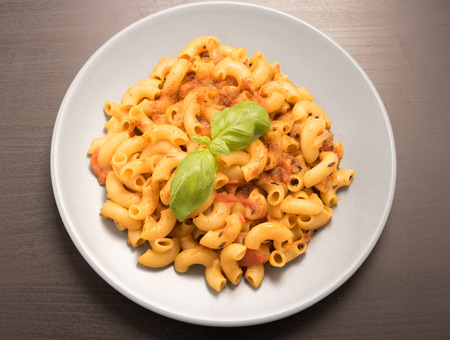 short pasta: macaroni pasta garnish with basil leaves in a white plate