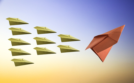 differentiation: leadership concept with paper plane