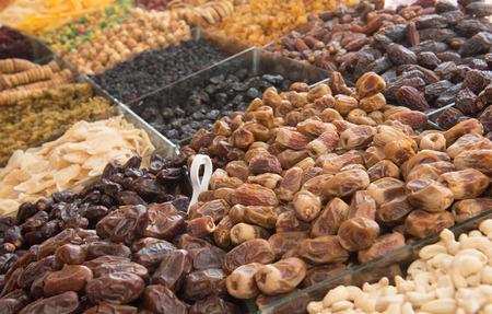 souk: Dried fruit for sale in the spice souk at Deira. UAE Dubai Stock Photo
