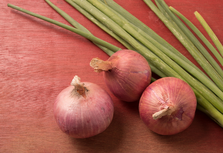 bulb and stem vegetables: Red and green onion on wooden background