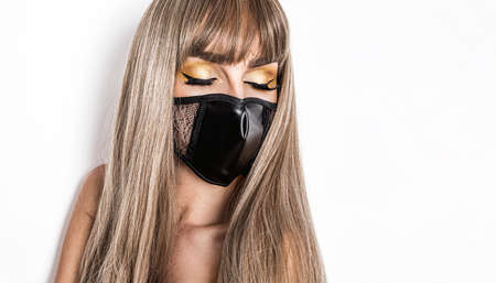 Stay at home awareness social media campaign and coronavirus prevention. Sexy woman with mask and dress promotes coronavirus campaigns. Protect from Coronavirus or Covid-19 epidemic. Mask fashion.