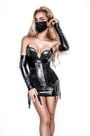 Sexy woman with mask and gloves promotes coronavirus campaigns. Protect from Coronavirus or Covid-19 epidemic