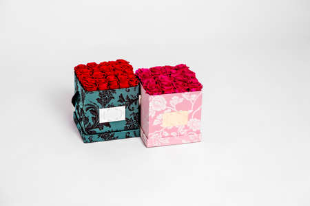 Flower box intended for home decor, weddings, anniversaries, birthdays and other celebrations. Red roses also could be a very special gifts for your partner.