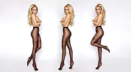 Sexy blonde girl in tights isolated on white background. Tights fashion.