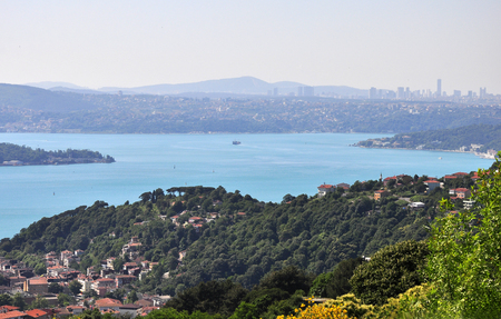 Turquoise colored Bosphorus.  Turquoise color in Bosphorus is unusual. Plankton explosion� turns Istanbul�s Bosphorus turquoise. Stock Photo