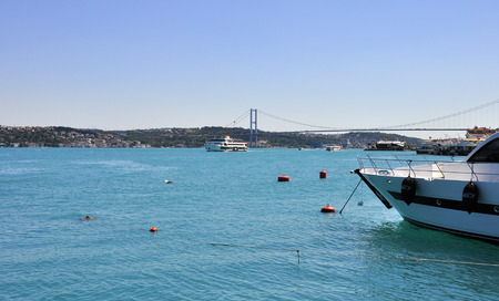 Turquoise colored Bosphorus.  Turquoise color in Bosphorus is unusual. Plankton explosion� turns Istanbul�s Bosphorus turquoise. Stock Photo