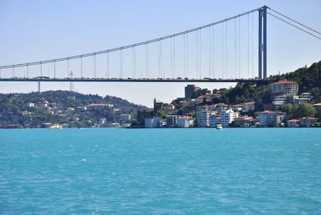 Turquoise colored Bosphorus.  Turquoise color in Bosphorus is unusual. Plankton explosion' turns Istanbul's Bosphorus turquoise. Editorial