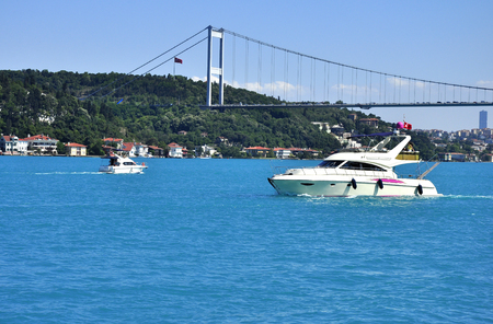 Turquoise colored Bosphorus.  Turquoise color in Bosphorus is unusual. Plankton explosion' turns Istanbul's Bosphorus turquoise.