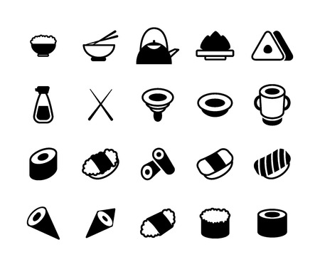 Set of monochrome japanese food and sushi icons. Chopsticks, bowls with wasabi, soy, sauce, rolls, snack, fish, rice, sashimi and more.
