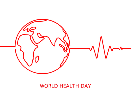World health day vector icon with cardiogram in red colour on white background
