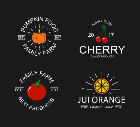 Vintage cherry, pumpkin, tomato and orange logo, emblems, labels and badges and other branding objects.