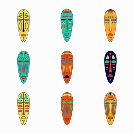 Set of colored national ethnick african masks. Reklamní fotografie