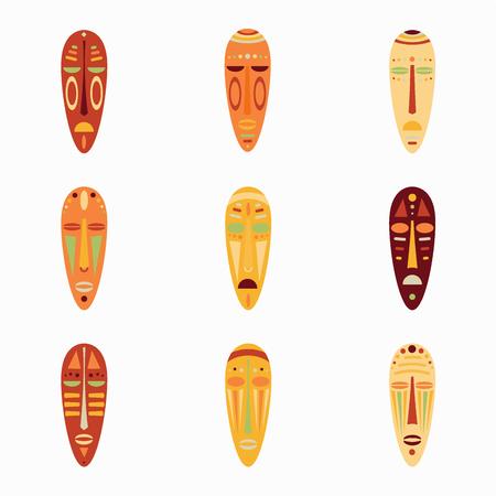 Set of colored national ethnick african masks.