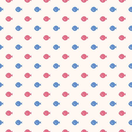 Seamless pattern with pink and blue fugu fish on pink background