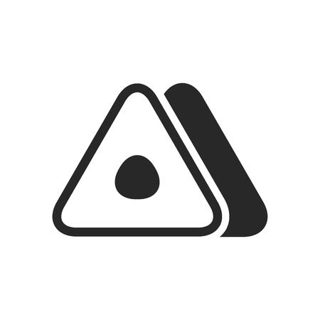 Zwart-wit Japans driehoekig broodje nigiri pictogram op witte achtergrond.