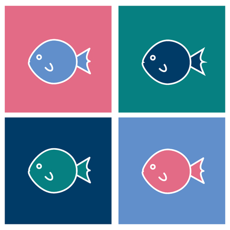 Colored fugu fish icons set in the square. Illustration