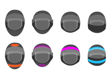 set of motorcycle grey and colorful helmets for racing. helmet for racing autos, bikes, motorbikes