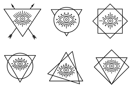 All seeing eyes in different line shapes. line tattoo eyes in triangles.