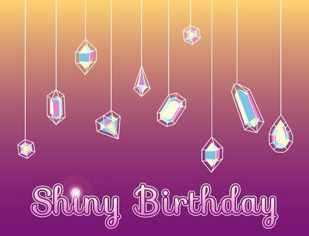 congratulatory card flyer with crystals, shiny diamonds, jewelry