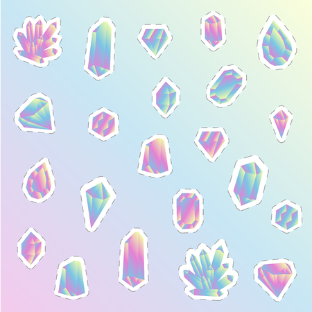 a set of colored crystals that imitate natural stones. stickers with a mirrored surface