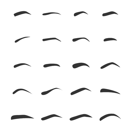 Set of eyebrows. types and shapes of the left female eyebrow Иллюстрация