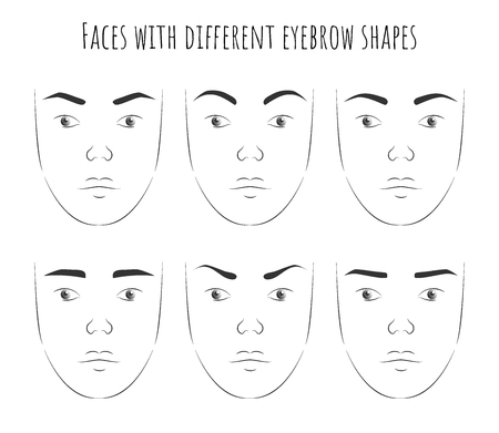 poster with female faces with different forms of eyebrows. change in the character of the face with the change of eyebrows