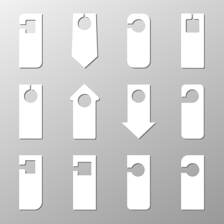 mock-ups for the signs on the door. sign hanger of various shapes on a light background