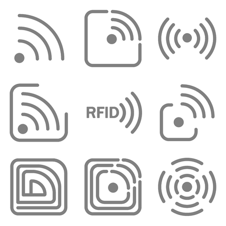 set of icons with different variations of rfid image in different forms Vectores