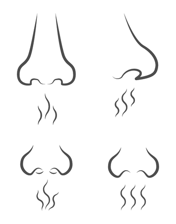 set of icons with silhouettes of the nose from different angles, which inhale different odors, which are depicted in the form of waves