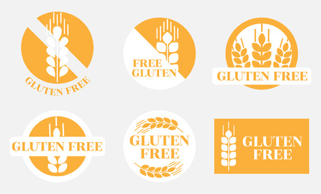 a set of trademarks with images and information on the lack of gluten in the products. monochrome orange gluten-free icons with wheat germ on gray background Vettoriali