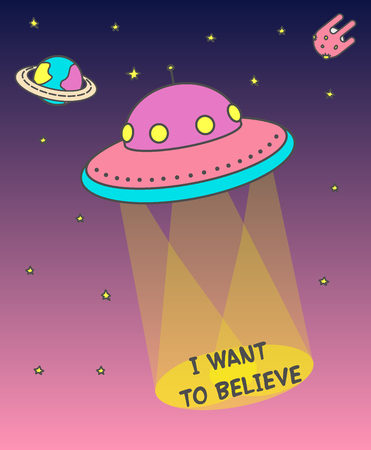 UFO poster that produces light beams. flying ufo across the sky at sunset on the background of an asteroid, planets and stars