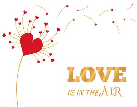 Carte de voeux de la Saint-Valentin avec fleur de pissenlit et coeurs, pétales volant au vent. Illustration postale vectorielle, bannière, fond, papier peint