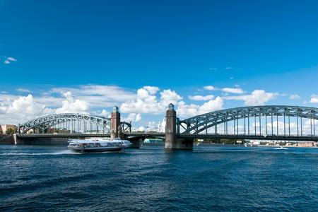 peter the great (maloohtinsky) bridge at saint-petersburg, russia