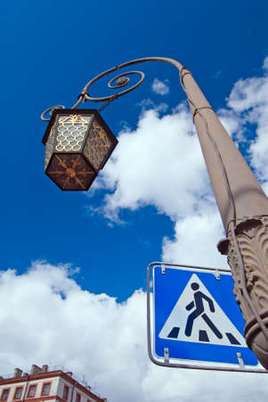 st.petersburg street lamp with pedestrian crossing sign photo