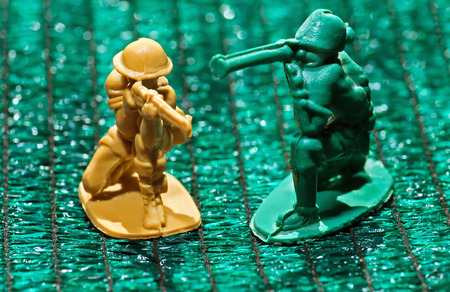 stickup: soviet plastic toy soldiers on grass-like background