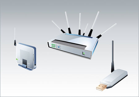 mobile accessories: vector illustration of the different wi-fi devices