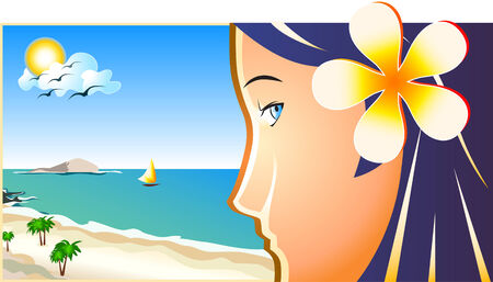 vector illustration of the young beach girl in profile Vector