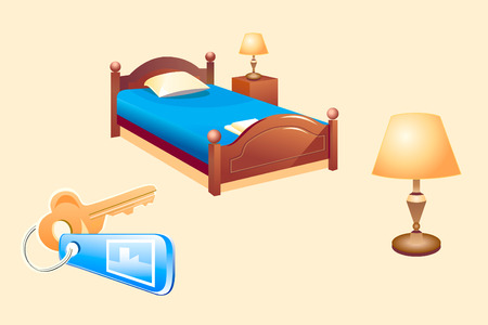 dormir habitaci�n: ilustraci�n vectorial de la habitaci�n del hotel los objetos (ropa de cama, l�mparas, clave)