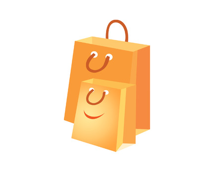 fun illustration of the happy shopping paper-bags Illustration