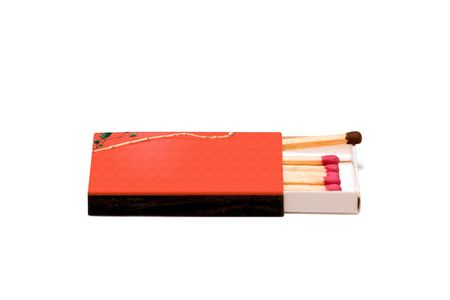 not ready: isolated red asian match-box with one different match Stock Photo
